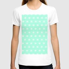 Aqua Geometric Flowers and Florals Isosceles Triangle T-shirt