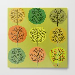 Tidy Trees All In Pretty Rows Metal Print