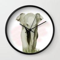 baby elephant Wall Clocks featuring Baby Elephant by Tanya Petruk