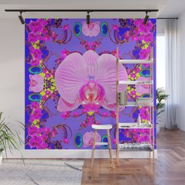 Purple Orchids Pattern Fantasy peacock eyes Art Pattern Art Design Wall Mural