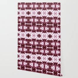Ikat Stripe Shibori Burgundy Wallpaper