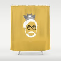hayao miyazaki Shower Curtains featuring Miyazaki, 1941 by Jarvis Glasses