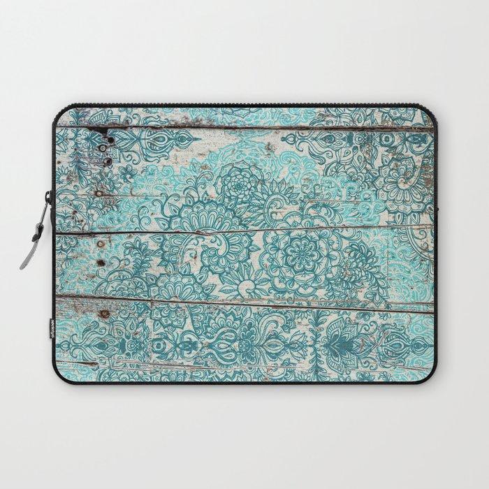Teal & Aqua Botanical Doodle on Weathered Wood Laptop Sleeve