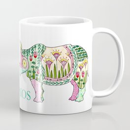 Floral Pattern Rhino Coffee Mug