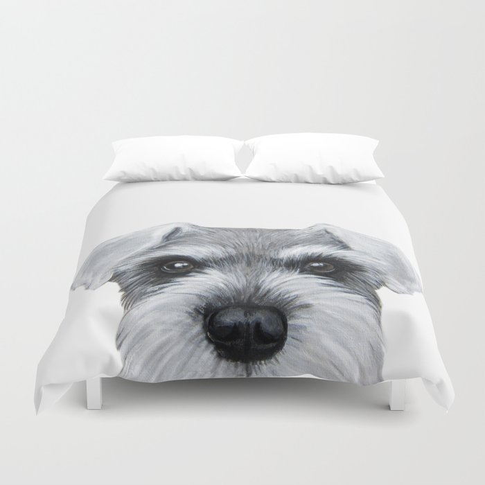 Schnauzer Grey&white, Dog illustration original painting print Duvet Cover