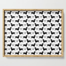 DACHSHUND DIXIE DACKEL PATTERN BLACK AND WHITE  Serving Tray