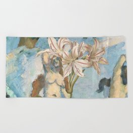 Cezanne's Ladies And Some Lilies Beach Towel