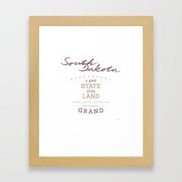 South Dakota Poster Framed Art Print