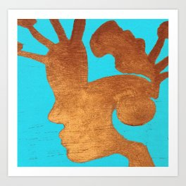 Copper Human Lost in Time Modern Acrylic on Wood Art Print