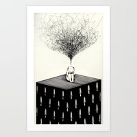 anxiety Art Prints featuring Anxiety by Felicia Chiao