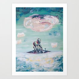 Magical Mint Island - Pastel Painting of Trees and Clouds Art Print
