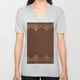 Brown leather texture gold frame Unisex V-Neck