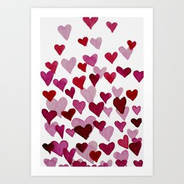 Valentine's Day Watercolor Hearts - pink Art Print