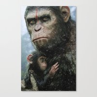 planet of the apes Canvas Prints featuring Dawn of the Planet of The Apes by crayonide