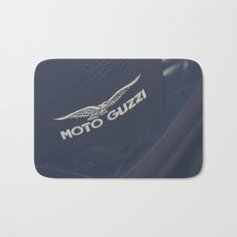 Moto Guzzi photo, helmet & motorbike, café racer, scrambler, bokeh, man cave stuff, motorcycle Bath Mat