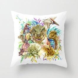 Dinosaur Collage Throw Pillow