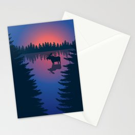 Moose in a Lake, Summer Forest Stationery Cards