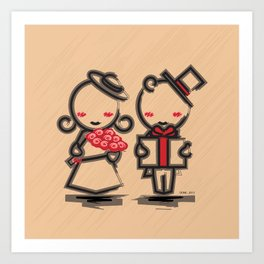 Lovely Couple in 4 Colours Art Print