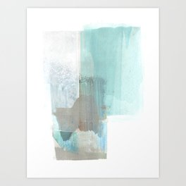 Glacial - Turqoise Blue and Brown Abstract Watercolor Painting Art Print