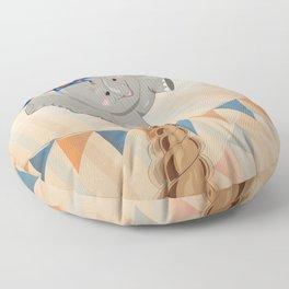 Elephant on tightrope Floor Pillow