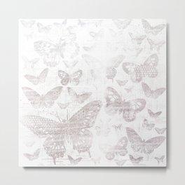 Silver Butterflies,shabby chic, pattern Metal Print