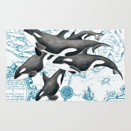 Orca Whales Family Blue Vintage Map Rug