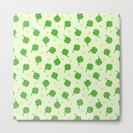 Kawaii Lucky Clover Metal Print