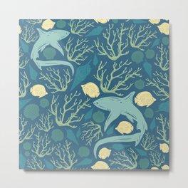 Underwater Animal Kingdom Pattern- Fishes Metal Print