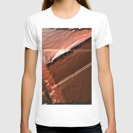 geometrical abstrac art copper colored metal texture T-shirt