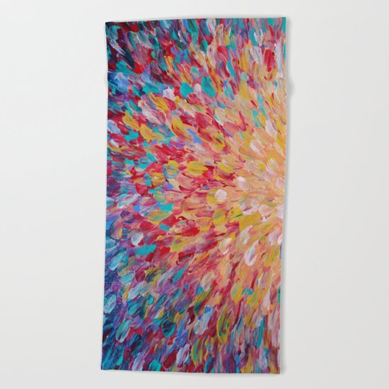 SPLASH - WOW Dash of Cheerful Color, Bold Water Waves Theme, Nature Lovers Modern Abstract Decor Beach Towel