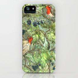 Robins in Blackberry Bush iPhone Case