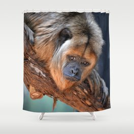Balck and Gold Howler Monkey Shower Curtain