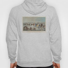 Vintage Central Park Ice Skating Painting (1861) Hoody