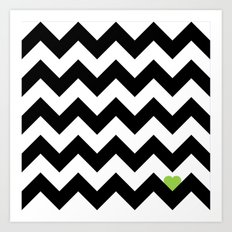 Heart & Chevron - Black/Green Art Print