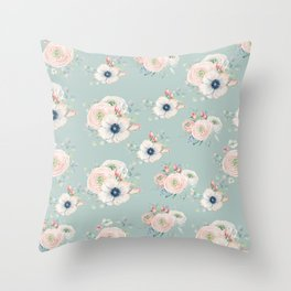 Dog Rose Pattern Mint Throw Pillow