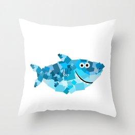 Square Shark Daddy! - Shark Family Throw Pillow