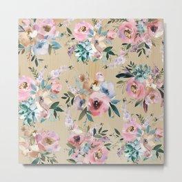 Pastel pink teal green watercolor pine wood floral Metal Print