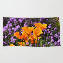 Poppies And Purple Lantana Beach Towel