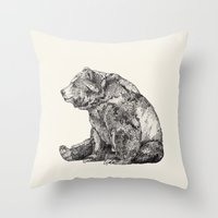 little Throw Pillows featuring Bear // Graphite by Sandra Dieckmann