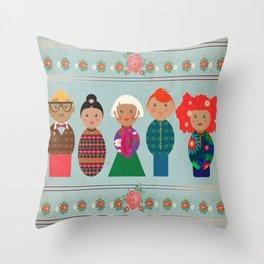 Skittle People Throw Pillow
