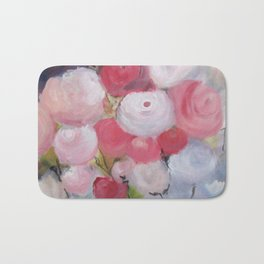 Roses and more Roses Abstract Original Painting White Blue Green Flowers Bath Mat