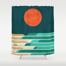 Chasing wave under the red moon Shower Curtain