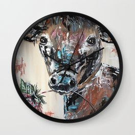 Cow chewing on a flower Wall Clock