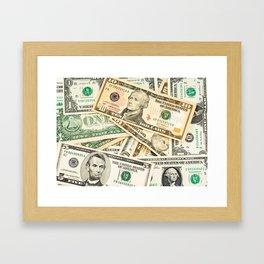 dollar bills Framed Art Print
