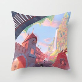 Colored City Throw Pillow
