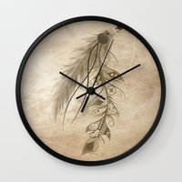 bohemian Wall Clocks featuring Bohemian Feather by LouJah