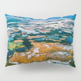 Airplane Window View | Salt Lake City Psychedelic Natural Vibrant Colorful Landscape Pillow Sham