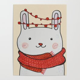 Hand Painted Christmas Rabbit Poster