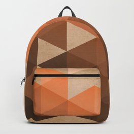 Warm Brown  -  Geometric Triangle Pattern Backpack
