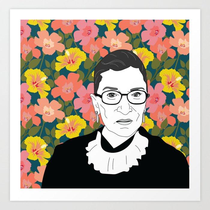 Ruth Bader Ginsburg Floral Kunstdrucke